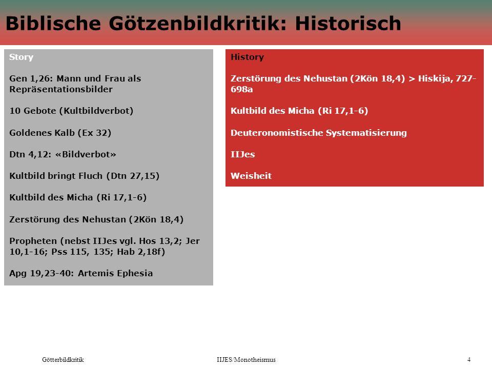 GötterbildkritikIIJES/Monotheismus4 Biblische Götzenbildkritik: Historisch Story Gen 1,26: Mann und Frau als Repräsentationsbilder 10 Gebote (Kultbild