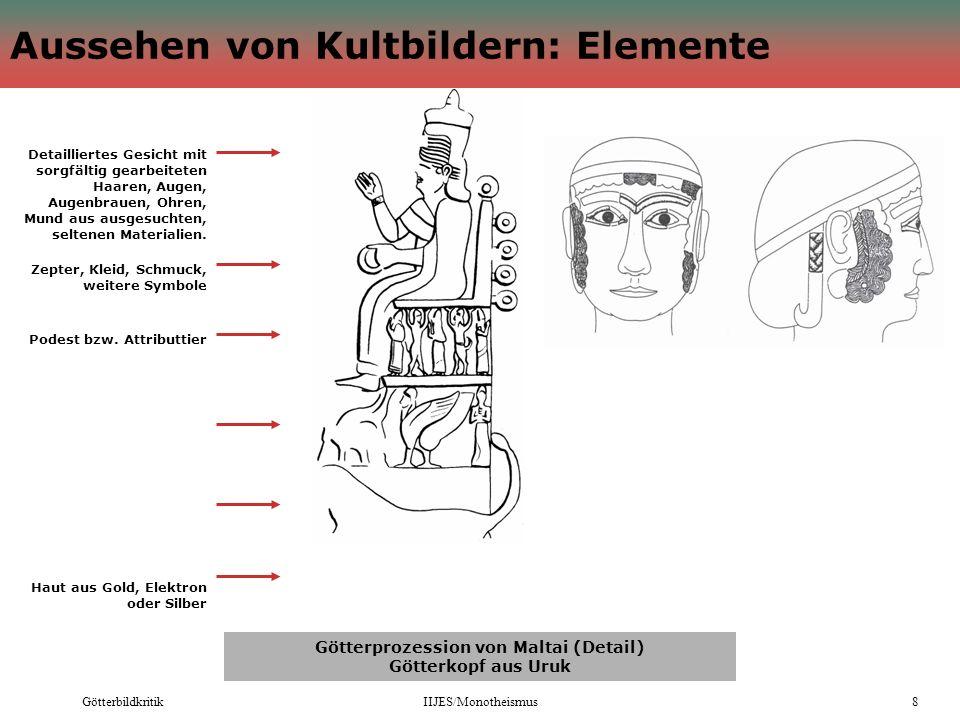 GötterbildkritikIIJES/Monotheismus8 Aussehen von Kultbildern: Elemente Götterprozession von Maltai (Detail) Götterkopf aus Uruk Detailliertes Gesicht
