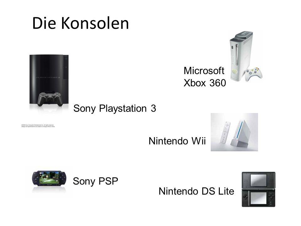Sony Playstation 3 Microsoft Xbox 360 Nintendo DS Lite Nintendo Wii Sony PSP Die Konsolen