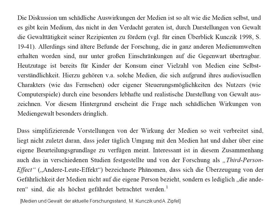 [Medien und Gewalt: der aktuelle Forschungsstand, M. Kunczik und A. Zipfel]