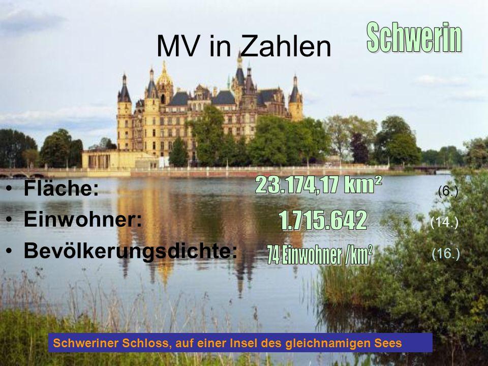 MV in Zahlen Fläche: (6.) Einwohner: (14.) Bevölkerungsdichte: (16.) Schweriner Schloss, auf einer Insel des gleichnamigen Sees