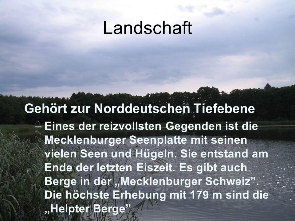 Landschaft Gehört zur Norddeutschen Tiefebene –Eines der reizvollsten Gegenden ist die Mecklenburger Seenplatte mit seinen vielen Seen und Hügeln. Sie
