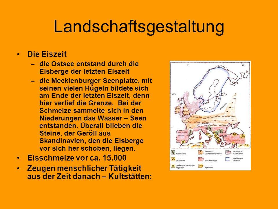 Landschaftsgestaltung Die Eiszeit –die Ostsee entstand durch die Eisberge der letzten Eiszeit –die Mecklenburger Seenplatte, mit seinen vielen Hügeln
