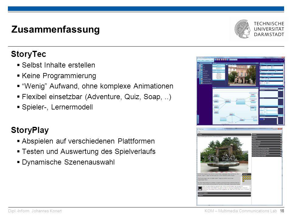 KOM – Multimedia Communications Lab18Dipl.-Inform.