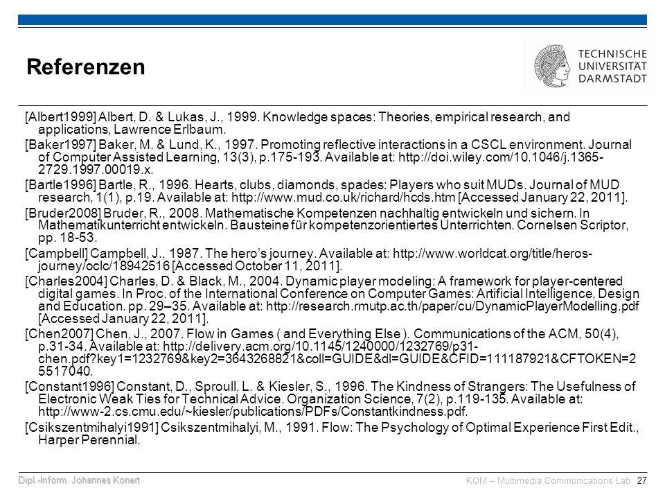 KOM – Multimedia Communications Lab27Dipl.-Inform.