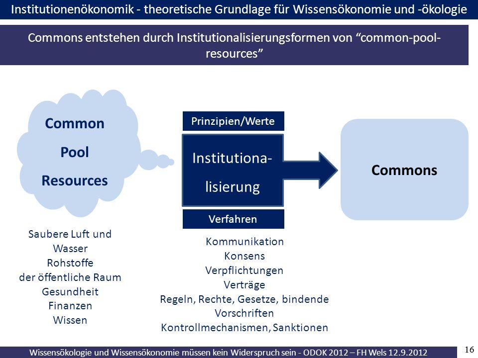 16 Wissensökologie und Wissensökonomie müssen kein Widerspruch sein - ODOK 2012 – FH Wels 12.9.2012 Institutionenökonomik - theoretische Grundlage für