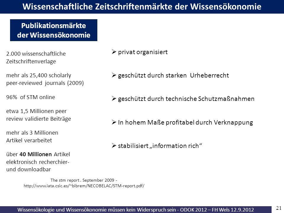 21 Wissensökologie und Wissensökonomie müssen kein Widerspruch sein - ODOK 2012 – FH Wels 12.9.2012 Open Access - nachhaltige Institutionalisierungsfo