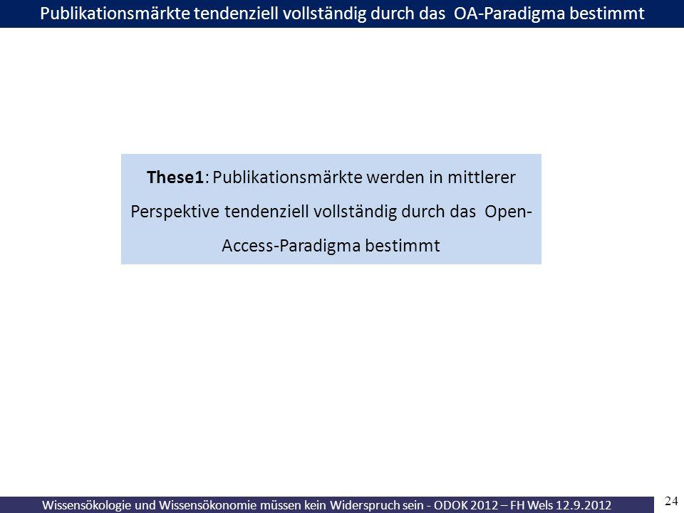 24 Wissensökologie und Wissensökonomie müssen kein Widerspruch sein - ODOK 2012 – FH Wels 12.9.2012 Publikationsmärkte tendenziell vollständig durch das OA-Paradigma bestimmt These1: Publikationsmärkte werden in mittlerer Perspektive tendenziell vollständig durch das Open- Access-Paradigma bestimmt