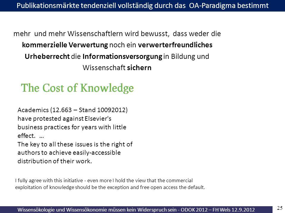 25 Wissensökologie und Wissensökonomie müssen kein Widerspruch sein - ODOK 2012 – FH Wels 12.9.2012 Publikationsmärkte tendenziell vollständig durch d