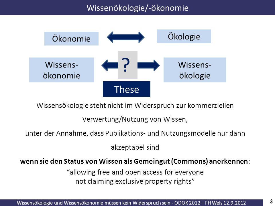 Wissensökologie und Wissensökonomie müssen kein Widerspruch sein - ODOK 2012 – FH Wels 12.9.2012 3 Wissensökologie steht nicht im Widerspruch zur komm