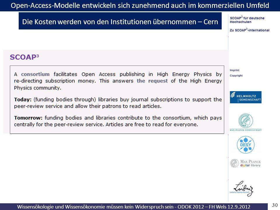 30 Wissensökologie und Wissensökonomie müssen kein Widerspruch sein - ODOK 2012 – FH Wels 12.9.2012 Open-Access-Modelle entwickeln sich zunehmend auch im kommerziellen Umfeld Die Kosten werden von den Institutionen übernommen – Cern