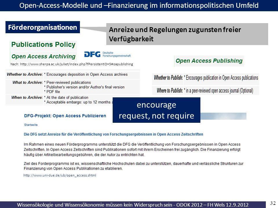 32 Wissensökologie und Wissensökonomie müssen kein Widerspruch sein - ODOK 2012 – FH Wels 12.9.2012 Open-Access-Modelle und –Finanzierung im informationspolitischen Umfeld Anreize und Regelungen zugunsten freier Verfügbarkeit Förderorganisationen http://www.uni-due.de/ub/open_access.shtml encourage request, not require Nach: http://www.sherpa.ac.uk/juliet/index.php fPersistentID=5#oapublishing