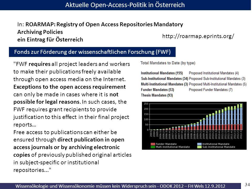 Wissensökologie und Wissensökonomie müssen kein Widerspruch sein - ODOK 2012 – FH Wels 12.9.2012 34 Aktuelle Open-Access-Politik in Österreich Fonds z
