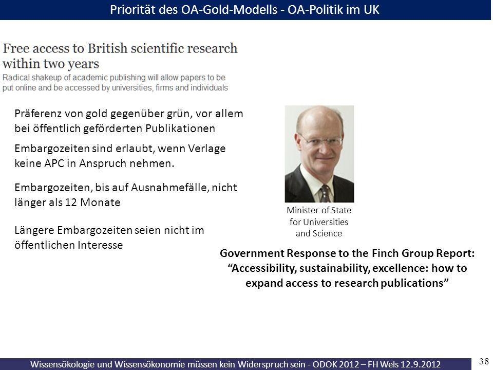 Wissensökologie und Wissensökonomie müssen kein Widerspruch sein - ODOK 2012 – FH Wels 12.9.2012 38 Präferenz von gold gegenüber grün, vor allem bei ö