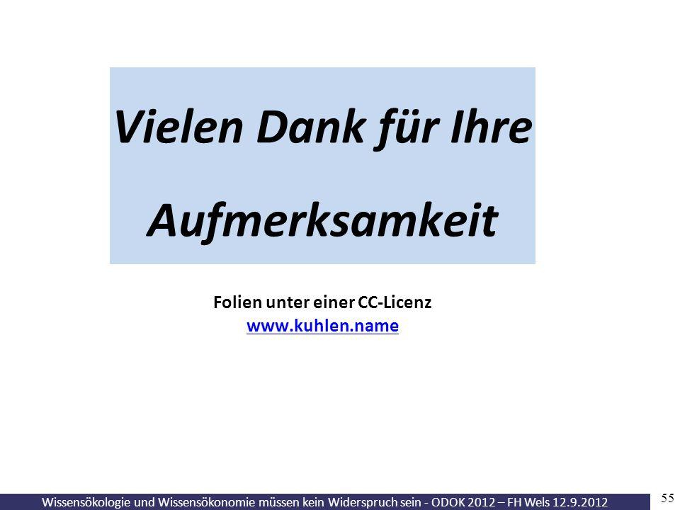 Wissensökologie und Wissensökonomie müssen kein Widerspruch sein - ODOK 2012 – FH Wels 12.9.2012 55 Vielen Dank für Ihre Aufmerksamkeit Folien unter e