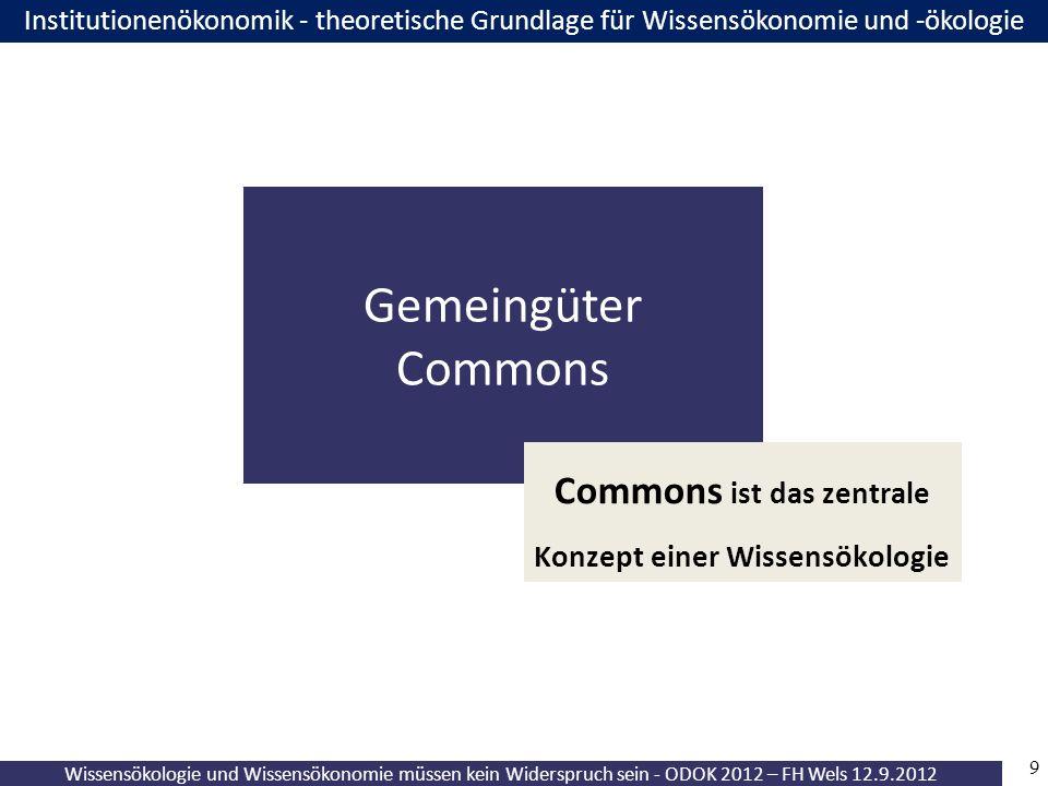9 Wissensökologie und Wissensökonomie müssen kein Widerspruch sein - ODOK 2012 – FH Wels 12.9.2012 Institutionenökonomik - theoretische Grundlage für