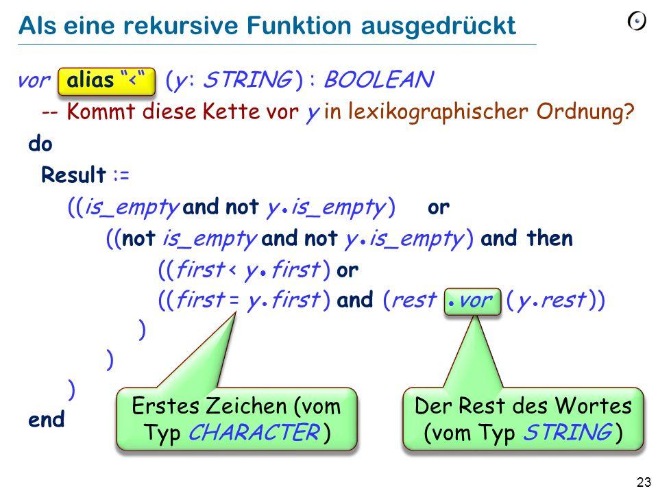 23 Als eine rekursive Funktion ausgedrückt vor (y : STRING ) : BOOLEAN -- Kommt diese Kette vor y in lexikographischer Ordnung? do Result := ((is_empt