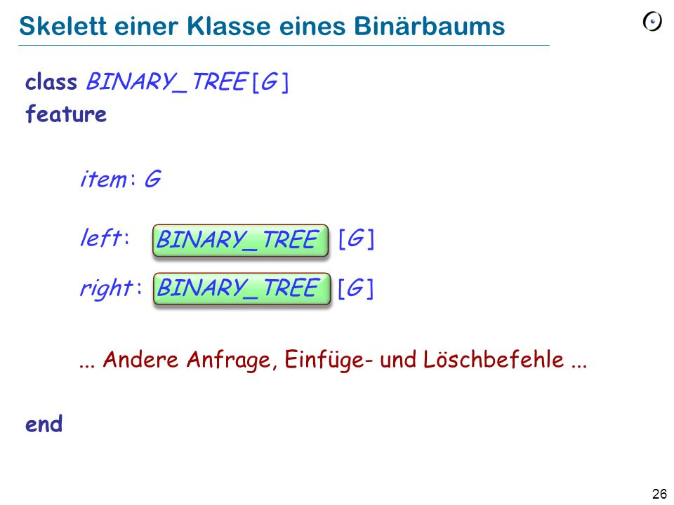 26 Skelett einer Klasse eines Binärbaums class BINARY_TREE [G ] feature item : G left : BINARY_TREE [G ] right : BINARY_TREE [G ]... Andere Anfrage, E