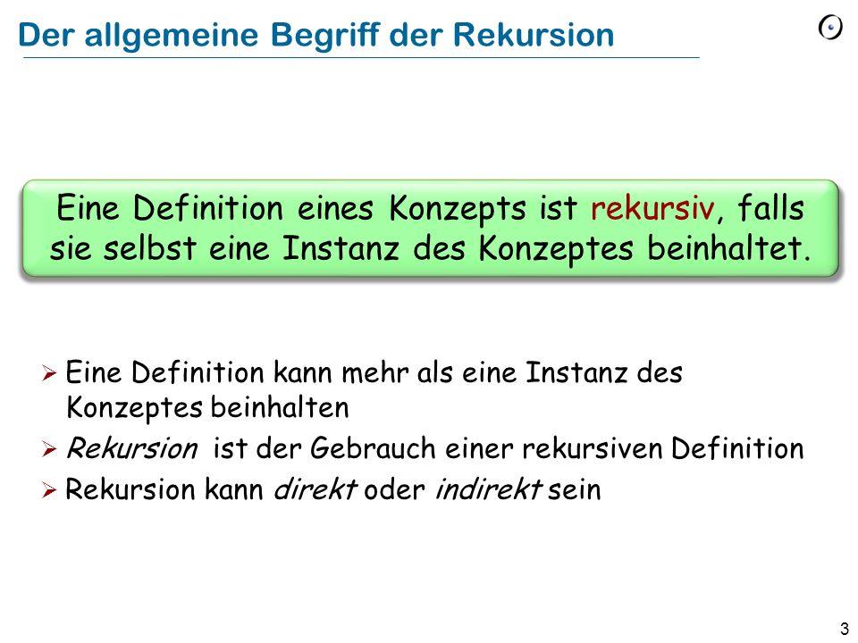 3 Der allgemeine Begriff der Rekursion Eine Definition eines Konzepts ist rekursiv, falls sie selbst eine Instanz des Konzeptes beinhaltet. Eine Defin