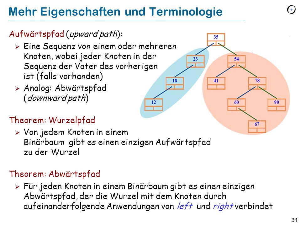 31 Mehr Eigenschaften und Terminologie Aufwärtspfad (upward path): Eine Sequenz von einem oder mehreren Knoten, wobei jeder Knoten in der Sequenz der Vater des vorherigen ist (falls vorhanden) Analog: Abwärtspfad (downward path) Theorem: Wurzelpfad Von jedem Knoten in einem Binärbaum gibt es einen einzigen Aufwärtspfad zu der Wurzel Theorem: Abwärtspfad Für jeden Knoten in einem Binärbaum gibt es einen einzigen Abwärtspfad, der die Wurzel mit dem Knoten durch aufeinanderfolgende Anwendungen von left und right verbindet