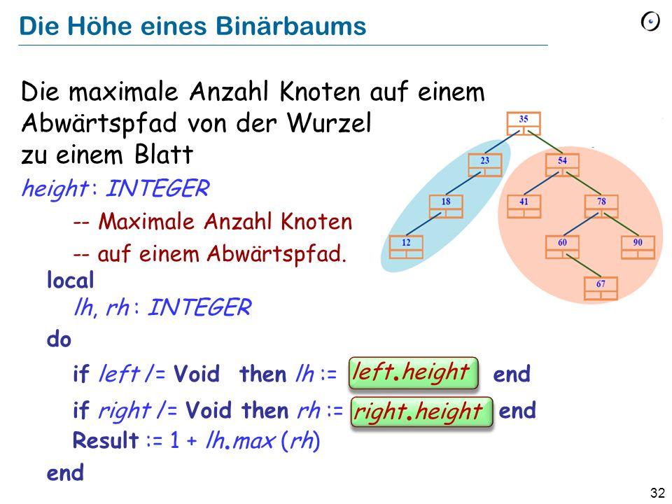 32 Die Höhe eines Binärbaums Die maximale Anzahl Knoten auf einem Abwärtspfad von der Wurzel zu einem Blatt height : INTEGER -- Maximale Anzahl Knoten -- auf einem Abwärtspfad.
