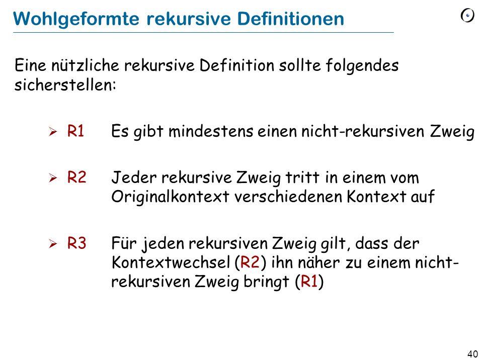 40 Wohlgeformte rekursive Definitionen Eine nützliche rekursive Definition sollte folgendes sicherstellen: R1Es gibt mindestens einen nicht-rekursiven Zweig R2Jeder rekursive Zweig tritt in einem vom Originalkontext verschiedenen Kontext auf R3Für jeden rekursiven Zweig gilt, dass der Kontextwechsel (R2) ihn näher zu einem nicht- rekursiven Zweig bringt (R1)