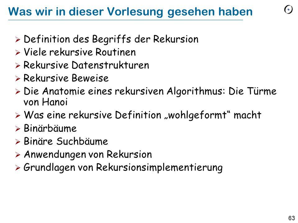 63 Was wir in dieser Vorlesung gesehen haben Definition des Begriffs der Rekursion Viele rekursive Routinen Rekursive Datenstrukturen Rekursive Beweis