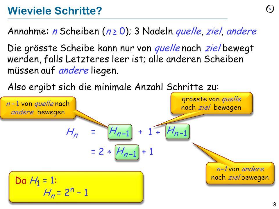 8 Wieviele Schritte? Annahme: n Scheiben (n 0); 3 Nadeln quelle, ziel, andere Die grösste Scheibe kann nur von quelle nach ziel bewegt werden, falls L