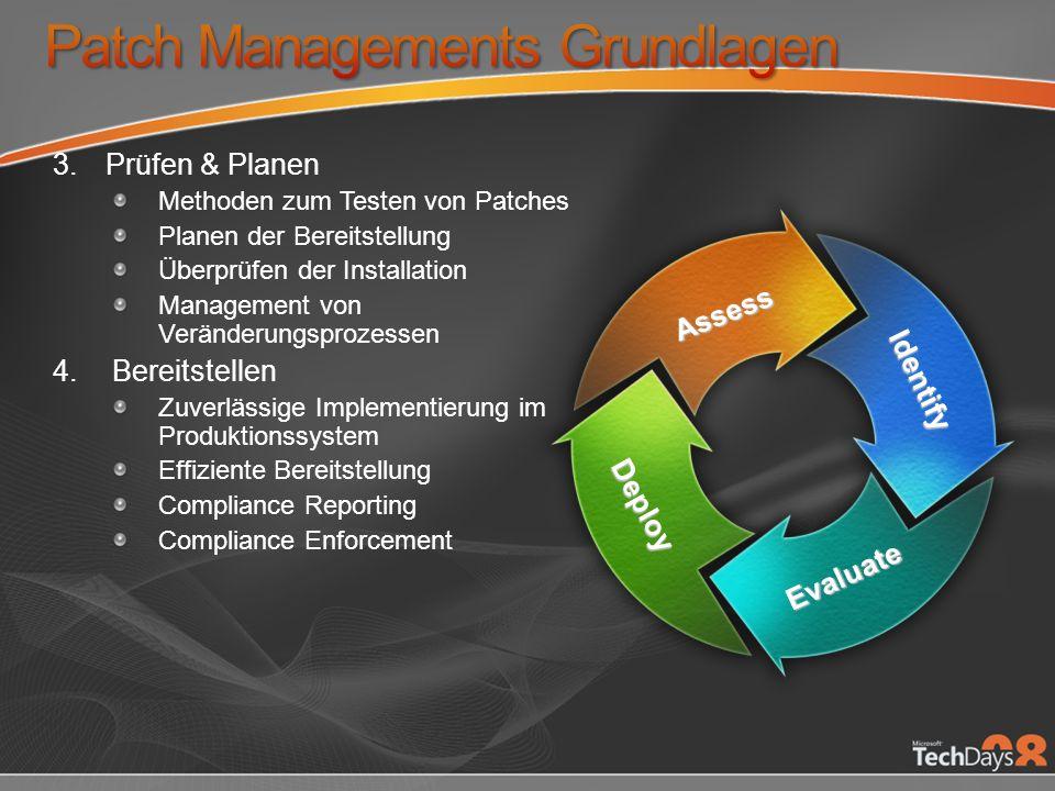 3.Prüfen & Planen Methoden zum Testen von Patches Planen der Bereitstellung Überprüfen der Installation Management von Veränderungsprozessen 4.Bereitstellen Zuverlässige Implementierung im Produktionssystem Effiziente Bereitstellung Compliance Reporting Compliance Enforcement Assess Identify Evaluate Deploy