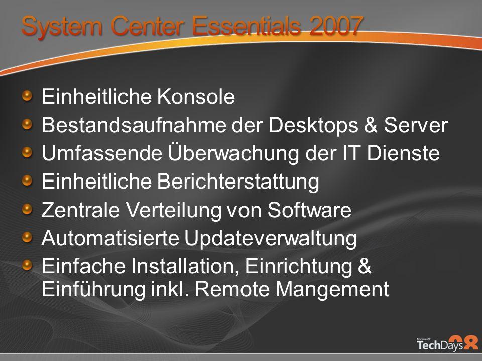 Einheitliche Konsole Bestandsaufnahme der Desktops & Server Umfassende Überwachung der IT Dienste Einheitliche Berichterstattung Zentrale Verteilung von Software Automatisierte Updateverwaltung Einfache Installation, Einrichtung & Einführung inkl.