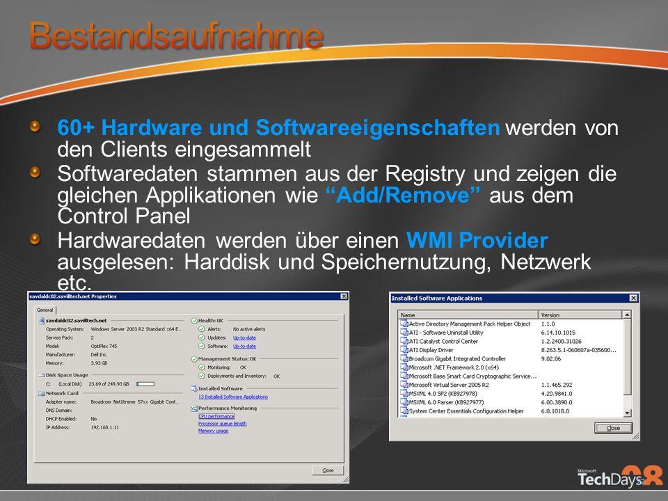 22 60+ Hardware und Softwareeigenschaften werden von den Clients eingesammelt Softwaredaten stammen aus der Registry und zeigen die gleichen Applikationen wie Add/Remove aus dem Control Panel Hardwaredaten werden über einen WMI Provider ausgelesen: Harddisk und Speichernutzung, Netzwerk etc.