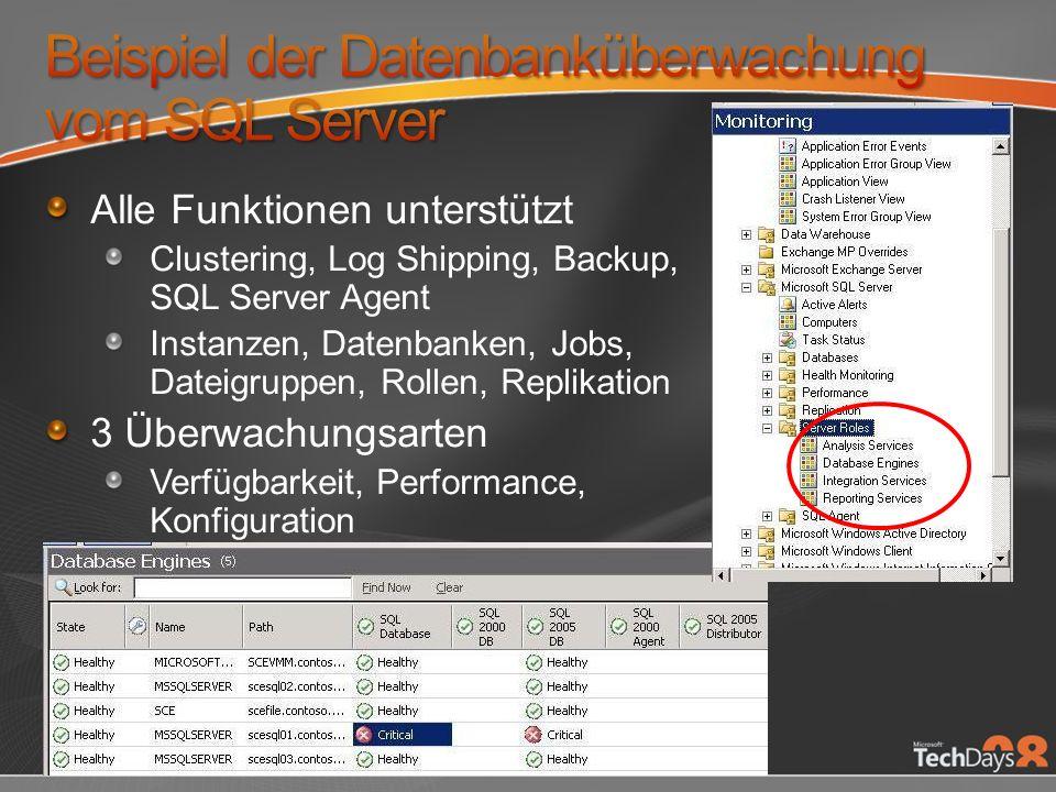 Alle Funktionen unterstützt Clustering, Log Shipping, Backup, SQL Server Agent Instanzen, Datenbanken, Jobs, Dateigruppen, Rollen, Replikation 3 Überwachungsarten Verfügbarkeit, Performance, Konfiguration