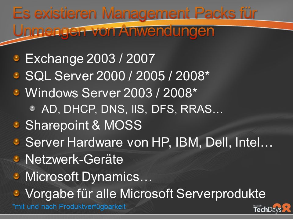 Exchange 2003 / 2007 SQL Server 2000 / 2005 / 2008* Windows Server 2003 / 2008* AD, DHCP, DNS, IIS, DFS, RRAS… Sharepoint & MOSS Server Hardware von H