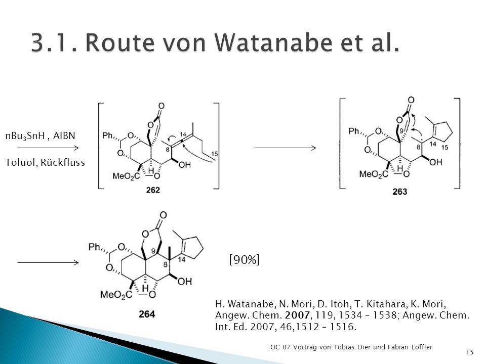 OC 07 Vortrag von Tobias Dier und Fabian Löffler 15 H. Watanabe, N. Mori, D. Itoh, T. Kitahara, K. Mori, Angew. Chem. 2007, 119, 1534 – 1538; Angew. C