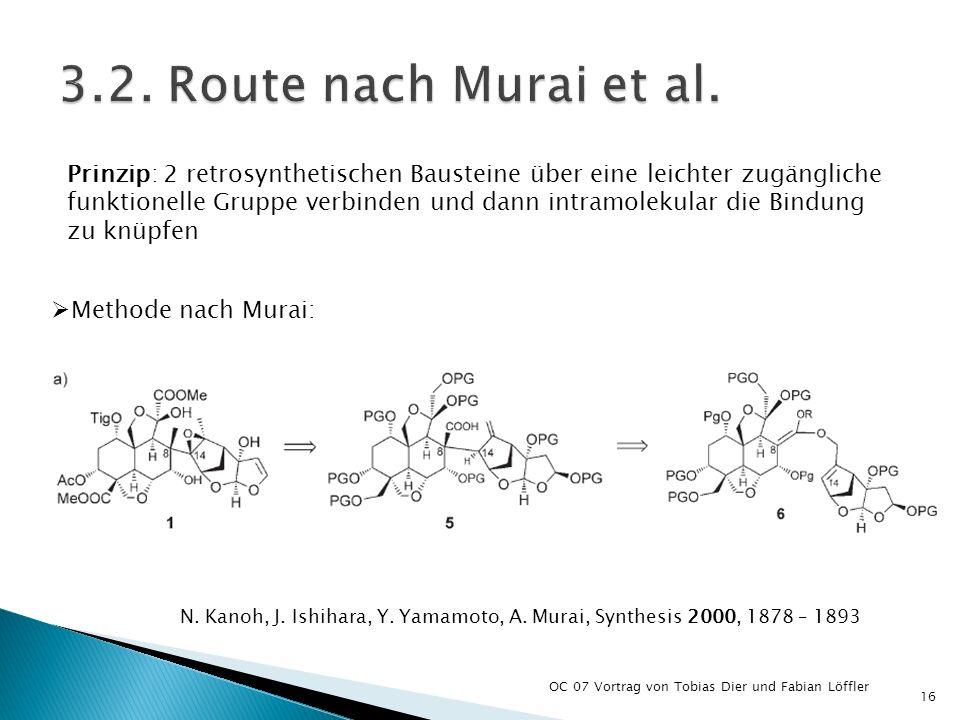 OC 07 Vortrag von Tobias Dier und Fabian Löffler 16 Prinzip: 2 retrosynthetischen Bausteine über eine leichter zugängliche funktionelle Gruppe verbind