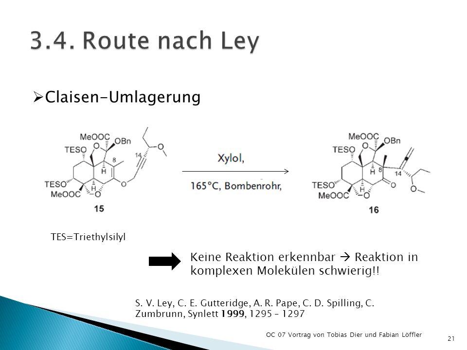 OC 07 Vortrag von Tobias Dier und Fabian Löffler 21 Keine Reaktion erkennbar Reaktion in komplexen Molekülen schwierig!! Claisen-Umlagerung S. V. Ley,