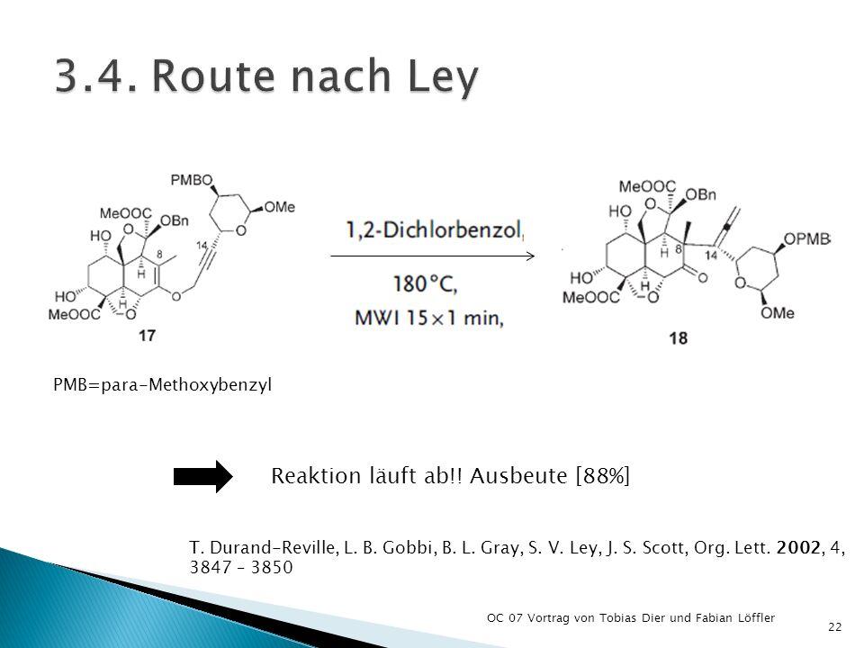 OC 07 Vortrag von Tobias Dier und Fabian Löffler 22 Reaktion läuft ab!! Ausbeute [88%] T. Durand-Reville, L. B. Gobbi, B. L. Gray, S. V. Ley, J. S. Sc