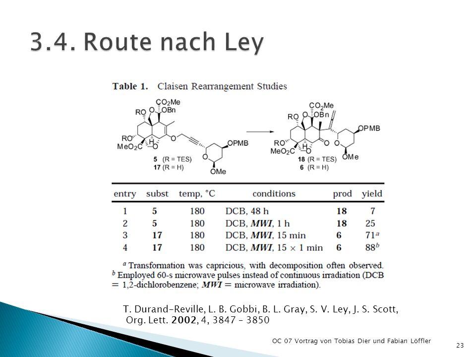 OC 07 Vortrag von Tobias Dier und Fabian Löffler 23 T. Durand-Reville, L. B. Gobbi, B. L. Gray, S. V. Ley, J. S. Scott, Org. Lett. 2002, 4, 3847 – 385