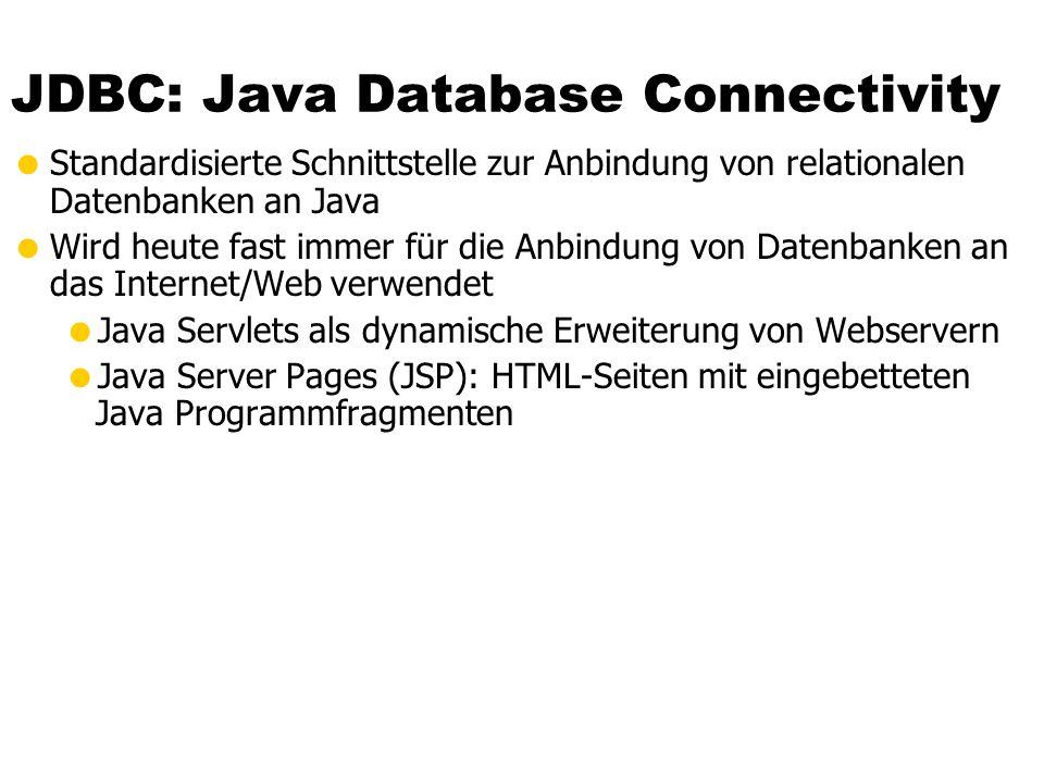 JDBC: Java Database Connectivity Standardisierte Schnittstelle zur Anbindung von relationalen Datenbanken an Java Wird heute fast immer für die Anbindung von Datenbanken an das Internet/Web verwendet Java Servlets als dynamische Erweiterung von Webservern Java Server Pages (JSP): HTML-Seiten mit eingebetteten Java Programmfragmenten