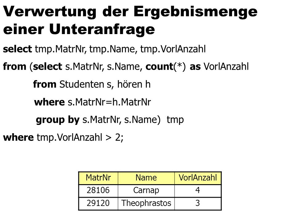 Verwertung der Ergebnismenge einer Unteranfrage select tmp.MatrNr, tmp.Name, tmp.VorlAnzahl from (select s.MatrNr, s.Name, count(*) as VorlAnzahl from Studenten s, hören h where s.MatrNr=h.MatrNr group by s.MatrNr, s.Name) tmp where tmp.VorlAnzahl > 2; MatrNrNameVorlAnzahl 28106Carnap4 29120Theophrastos3