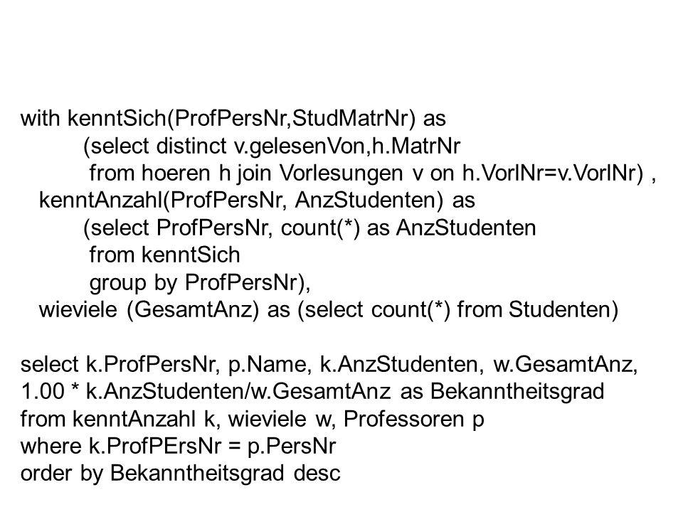 with kenntSich(ProfPersNr,StudMatrNr) as (select distinct v.gelesenVon,h.MatrNr from hoeren h join Vorlesungen v on h.VorlNr=v.VorlNr), kenntAnzahl(Pr