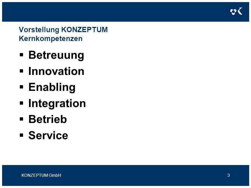 Vorstellung KONZEPTUM Kernkompetenzen Betreuung Innovation Enabling Integration Betrieb Service KONZEPTUM GmbH3