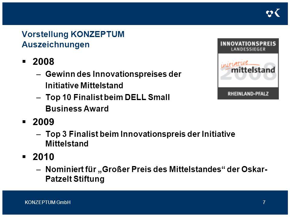 Vorstellung KONZEPTUM Auszeichnungen 2008 –Gewinn des Innovationspreises der Initiative Mittelstand –Top 10 Finalist beim DELL Small Business Award 20