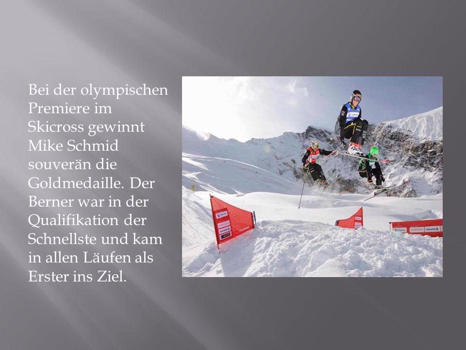 Bei der olympischen Premiere im Skicross gewinnt Mike Schmid souverän die Goldmedaille.