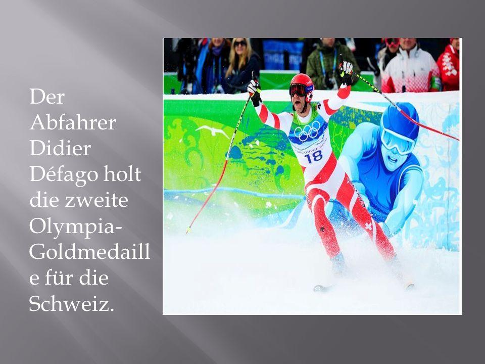 Der Abfahrer Didier Défago holt die zweite Olympia- Goldmedaill e für die Schweiz.