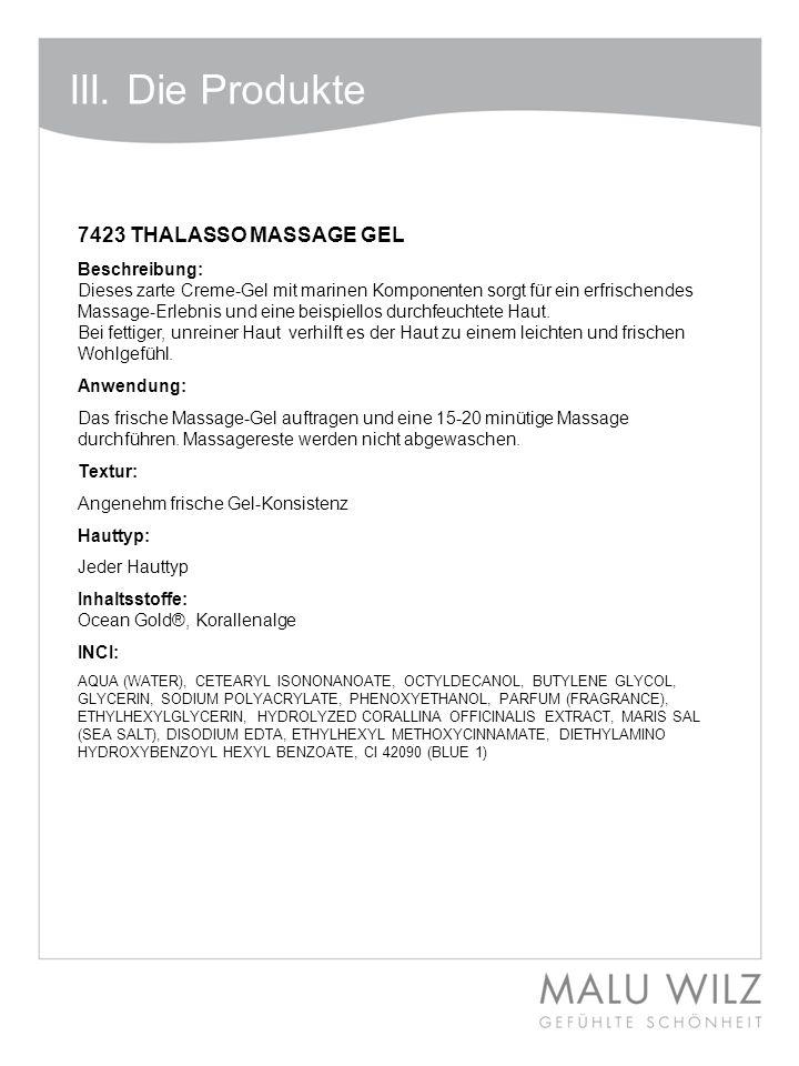 III.Die Produkte 7430 THALASSO REFINING MASK Beschreibung Kaltmodellage mit Rotalgenextrakt.