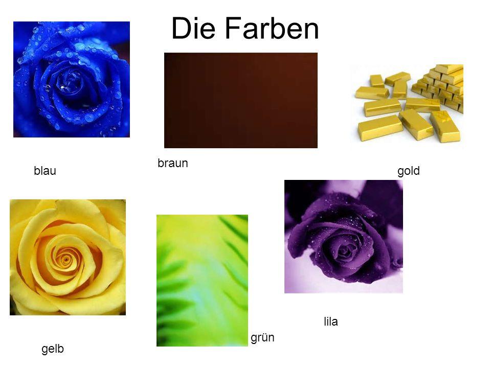 Die Farben blau braun gelb grün lila gold