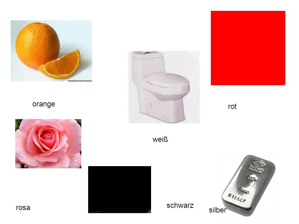 orange weiß rot rosa silber schwarz