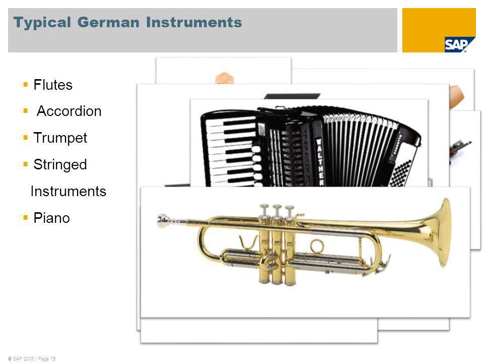 ©SAP 2009 / Page 15 Typical German Instruments Flutes Accordion Trumpet Stringed Instruments Piano