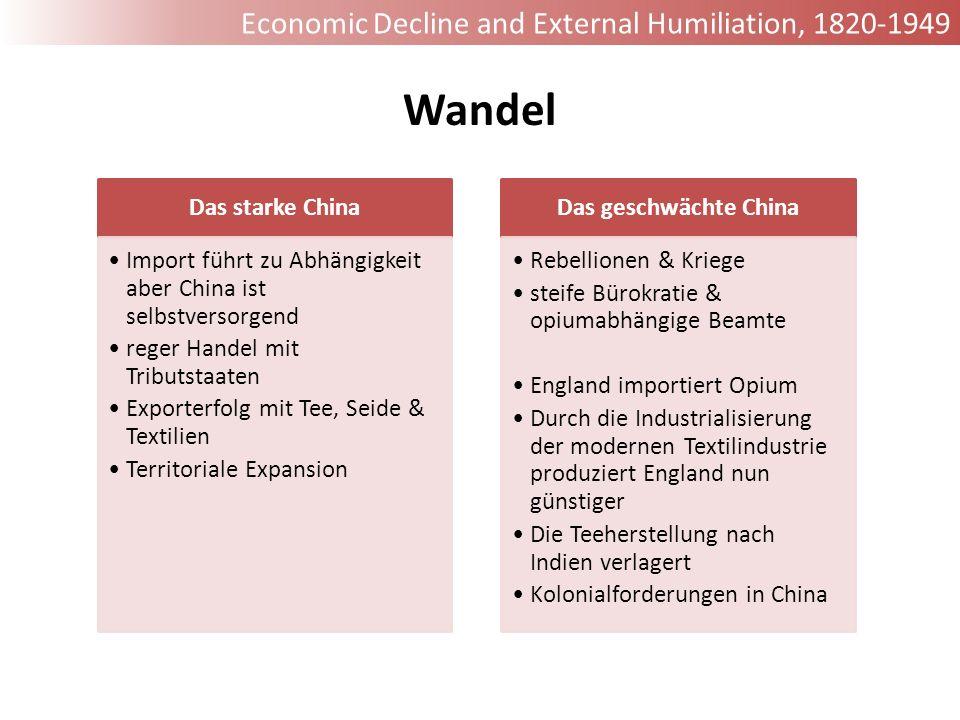 Das starke China Import führt zu Abhängigkeit aber China ist selbstversorgend reger Handel mit Tributstaaten Exporterfolg mit Tee, Seide & Textilien T